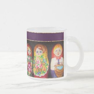 Colorful Matryoshka Dolls Frosted Glass Coffee Mug