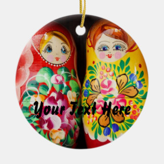 Colorful Matryoshka Dolls Round Ceramic Decoration