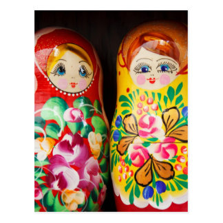 Colorful Matryoshka Dolls Post Card