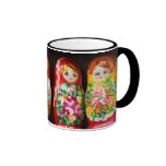Colorful Matryoshka Dolls Ringer Coffee Mug