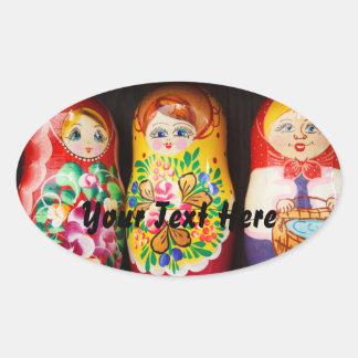 Colorful Matryoshka Dolls Oval Sticker