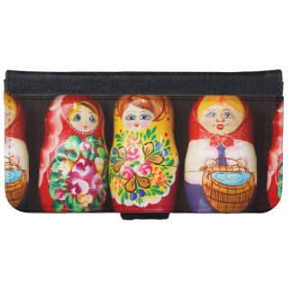 Colorful Matryoshka Dolls Wallet Phone Case For iPhone 6/6s