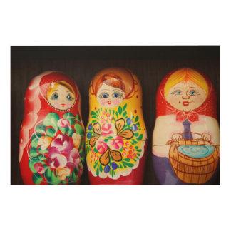 Colorful Matryoshka Dolls Wood Print