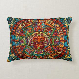 Colorful Mayan Calendar Accent Pillow