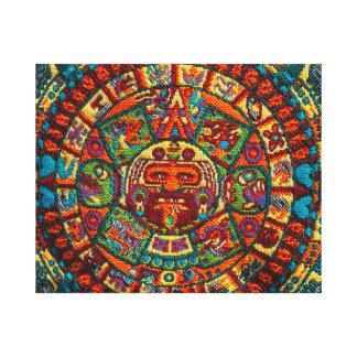 Colorful Mayan Calendar Canvas Print