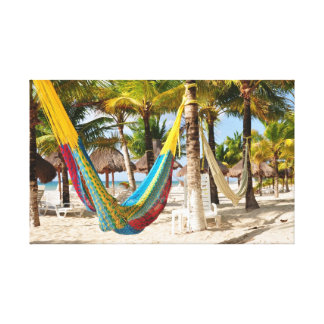 Colorful Mayan Hammock Cozumel Mexico Canvas Canvas Print