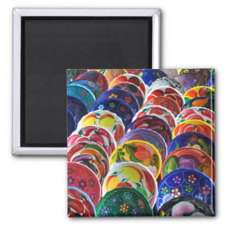 Colorful Mayan Mexican Gift Souvenir Bowls 2 Inch Square Magnet