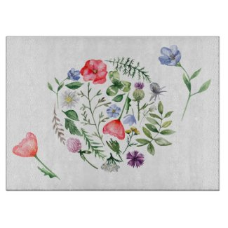 Colorful Meadow Flowers Glass Cutting Board