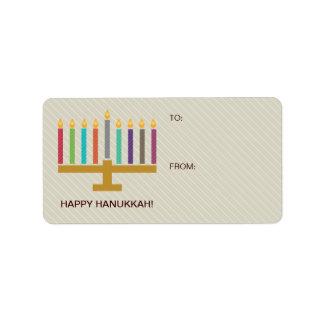 Colorful Menorah Hanukkah Gift Label