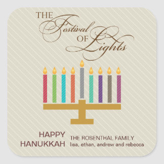 Colorful Menorah Hanukkah Square Sticker