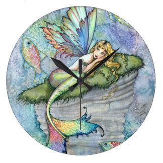 Colorful Mermaid and Carp Fish Fantasy Art Clock