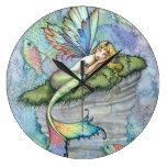 Colorful Mermaid and Carp Fish Fantasy Art Clocks