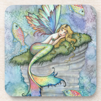 Colorful Mermaid and Carp Fish Fantasy Art Beverage Coasters