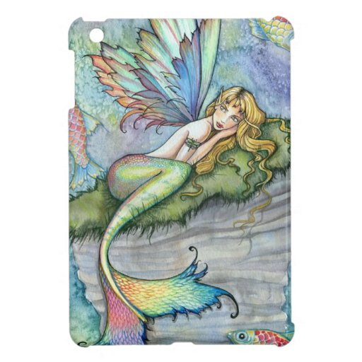 Colorful Mermaid and Carp Fish Fantasy Art iPad Mini Case