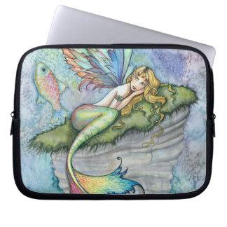 Colorful Mermaid and Carp Fish Fantasy Art Laptop Sleeve