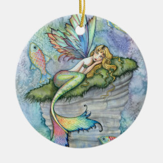 Colorful Mermaid and Carp Fish Fantasy Art Double-Sided Ceramic Round Christmas Ornament