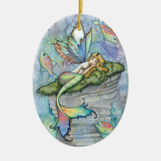 Colorful Mermaid and Carp Fish Fantasy Art Double-Sided Oval Ceramic Christmas Ornament