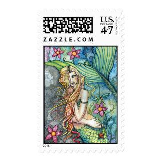 Colorful Mermaid Art Postage Stamps