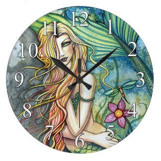 Colorful Mermaid Fantasy Art Clock
