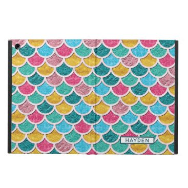 Colorful Mermaid Scales Monogram Case For iPad Air