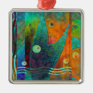 Colorful Mermaid Tail Orange Abstract Metal Ornament