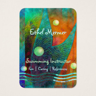 Colorful Mermaid Tail Swimming Instructor Business Card