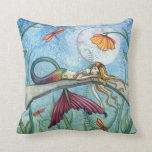 Colorful Mermaid Throw Pillow