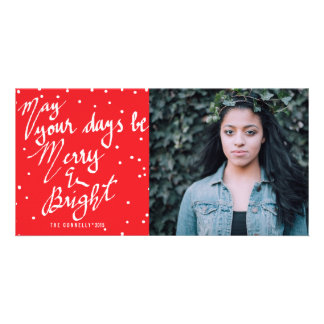 Colorful Merry And Bright Calligraphy Script Photo Card