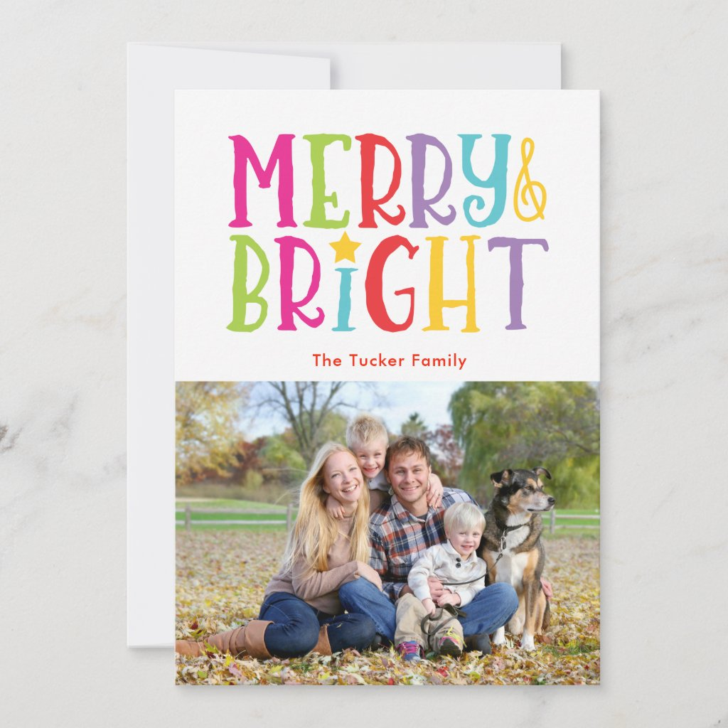 Colorful Merry & Bright Christmas Photo Card