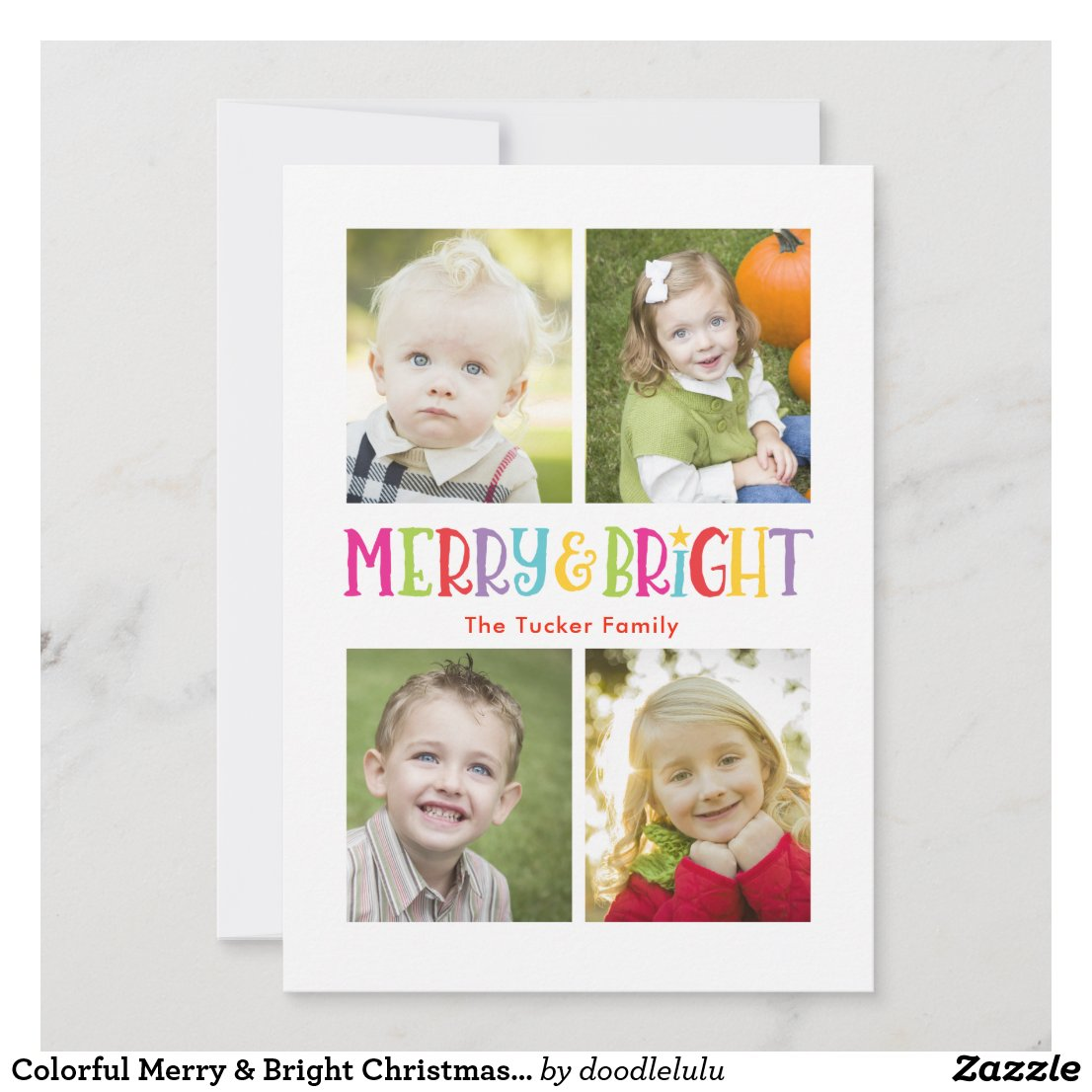 Colorful Merry & Bright Christmas Photo Collage Holiday Card