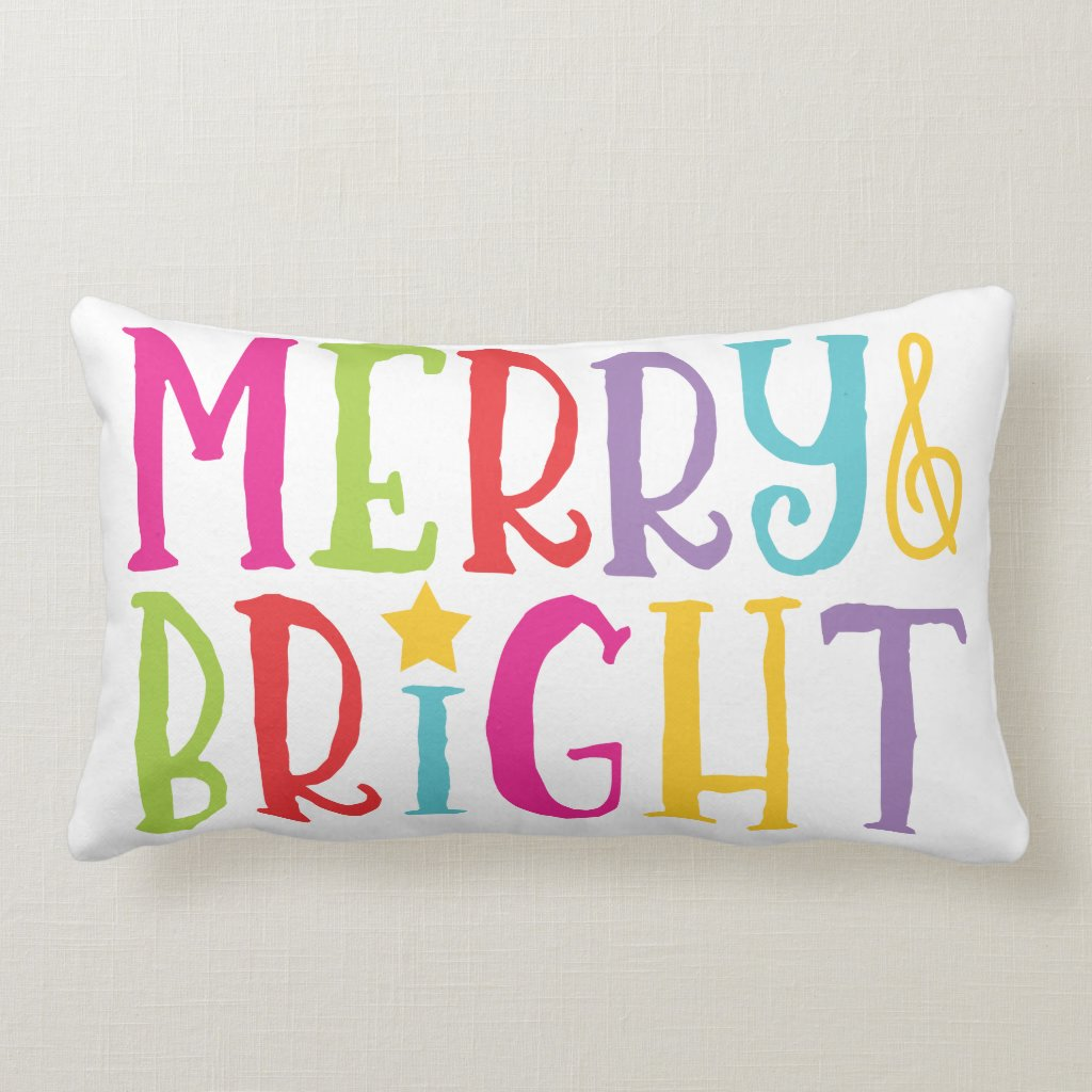 Colorful Merry & Bright Christmas Throw Pillow
