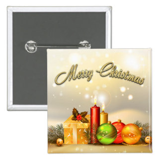 Colorful Merry Christmas Candle Decorations 2 Inch Square Button