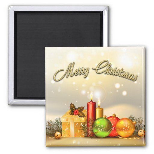 Colorful Merry Christmas Candle Decorations Fridge Magnet