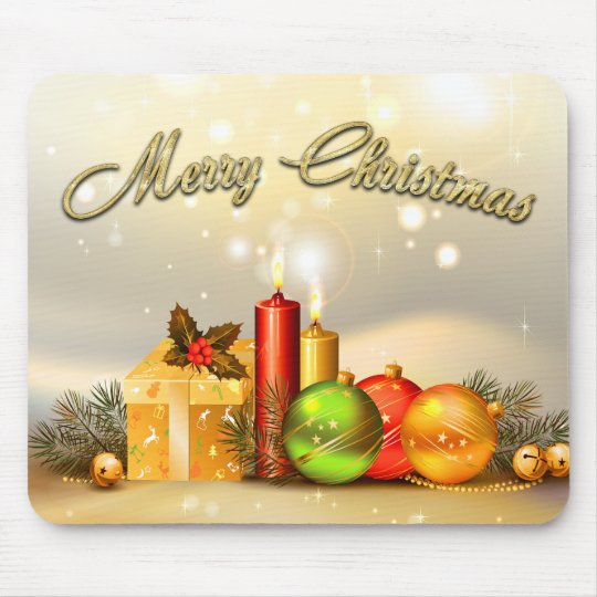Colorful Merry Christmas Candle Decorations Mouse Pad