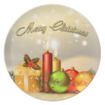 Colorful Merry Christmas Candle Decorations Party Plate