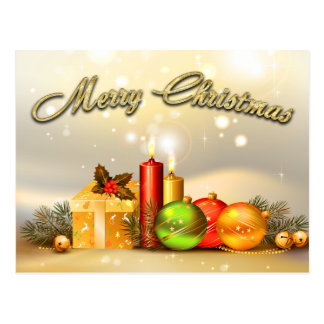 Colorful Merry Christmas Candle Decorations Postcard