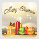 Colorful Merry Christmas Candle Decorations Sticker
