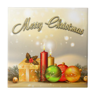 Colorful Merry Christmas Candle Decorations Tile