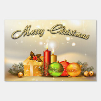 Colorful Merry Christmas Candle Decorations Sign
