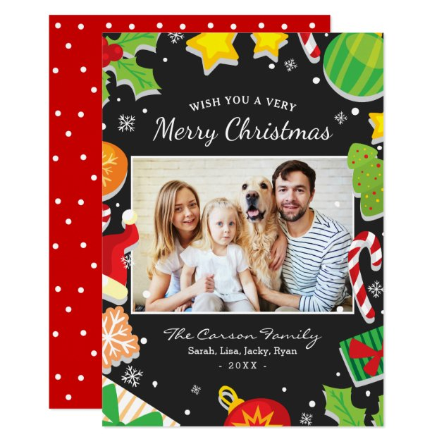 Colorful Merry Christmas Elements Family Photo Card