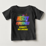 "[ Thumbnail: Colorful ""Merry Christmas!"", Fireworks, Name T-Shirt ]"