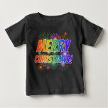 "[ Thumbnail: Colorful ""Merry Christmas!"" + Fireworks Pattern T-Shirt ]"