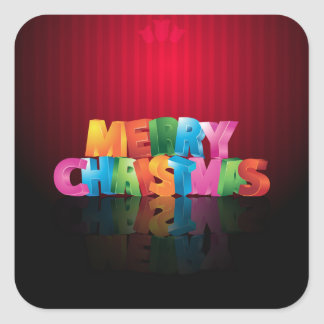 Colorful Merry Christmas greeting design Square Sticker