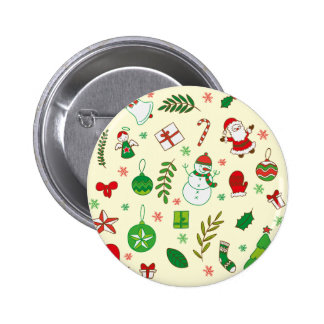 Colorful Merry Christmas greeting pattern 2 Inch Round Button