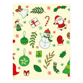Colorful Merry Christmas greeting pattern Postcard