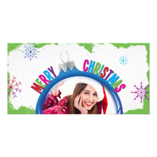 Colorful Merry Christmas Holiday Bulb Photo Card