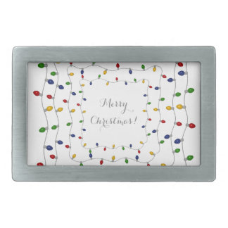 Colorful Merry Christmas Lights Belt Buckle