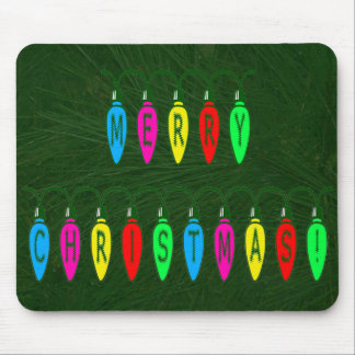 Colorful Merry Christmas Lights Font Mouse Pad