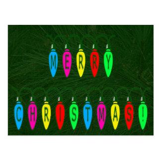 Colorful Merry Christmas Lights Font Postcard