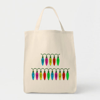 Colorful Merry Christmas Lights Font Tote Bag